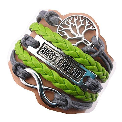 Ac Union ACUNIONTM Handmade Infinity Best Friend Tree for Life Charm Friendship Gift Leather Bracelet