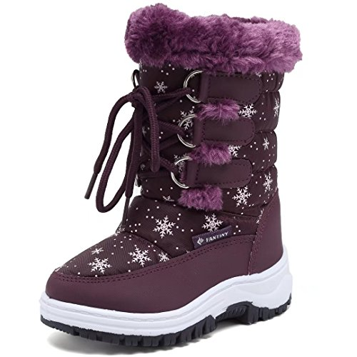 CIOR FANTINY Toddler Winter Snow Boots For Boy and Girl Outdoor Waterproof With Fur Lined Purple-23 (Girl On Sale For Boots Winter)