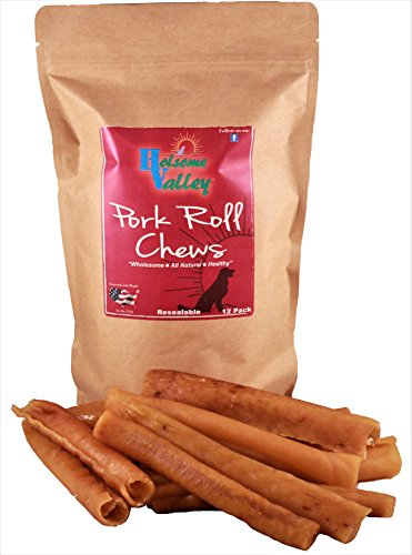 Holsome Valley Pork Roll Dog Chews-All Natural-Premium Rawhide Chews Alternative-No Preservatives-No Additives-Sourced And Made In The USA Only-Healthy Human Grade A Dog Treats-Highly Digestible-12 Pk (Rawhide Puppy Roll)
