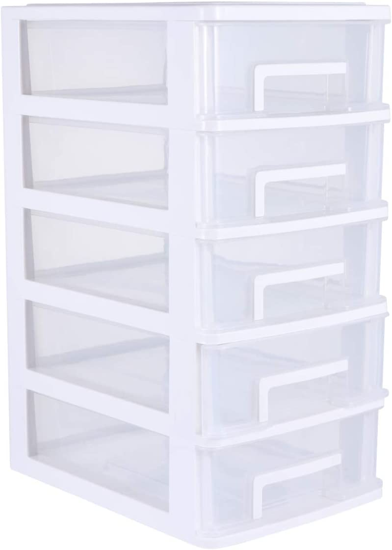 White TOYANDONA Plastic Storage Cabinet 5-layer Transparent Closet Drawer Portable Dustproof Sundries Holder Case Organizer For Home Living Room Bedroom