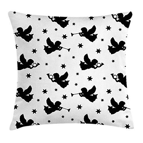 - Angel Throw Pillow Cushion Cover, Cupid Icons with Trumpets Angels Sky Stars Fairy Xmas Season Yule Celebration Art, Decorative Square Accent Pillow Case,Black White 20x20inch