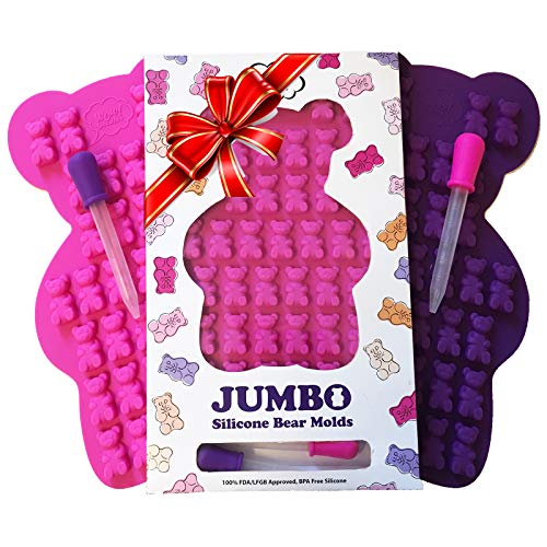 - NEW UNIQUE Extra Large Candy Gummy Bear Mold - 2 Big Molds + 2 BONUS Droppers - BPA Free FDA Approved Silicone - Make Bigger 1.2