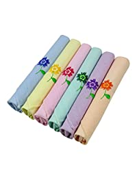 Lot Of 6 Pieces Women Floral Embroidered Cotton Handkerchief Ladies Child Hankie