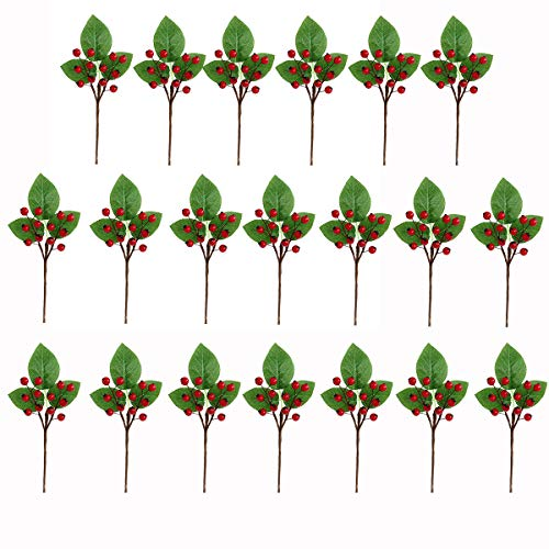 Htmeing 20pcs Artificial Christmas Picks Fake Holly