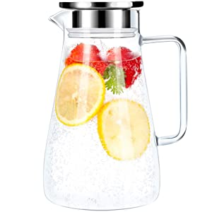 52 Ounces Borosilicate Glass Pitcher with Handle - Heat Resistant Water Carafe with Stainless Steel Lid - Large Beverage Pitcher for Homemade Juice and Iced Tea …