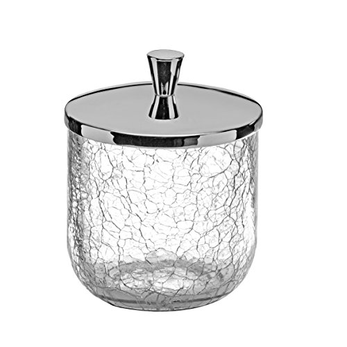 Crackle Collection Cotton Ball Swab Pad/ Container Cup Holder, Crackle Glass Cup, Dispenser Holder, Canister Set, Made in Spain (European Brand) (Polished Chrome)