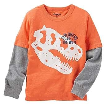 OshKosh B'gosh Layered Look Dino T-Shirt for Boys - Orange/Grey