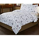 Pointehaven 3-Piece 200 Gsm Flannel Duvet Cover Set, King/California King, Printed, Snow Drop