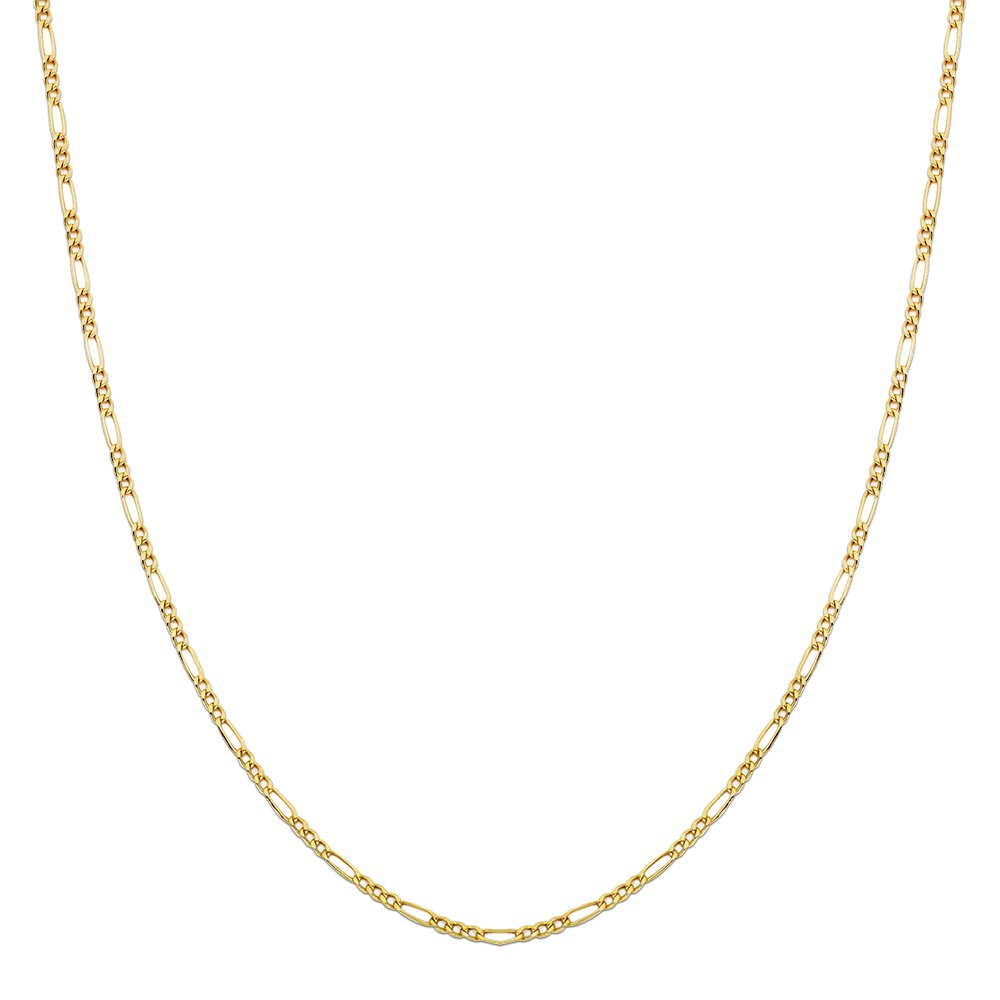 LoveBling 10K Yellow Gold Figaro Chain Necklace, Available in 2mm to 6.5mm, 16'' to 30'' (2.5mm, 28'')