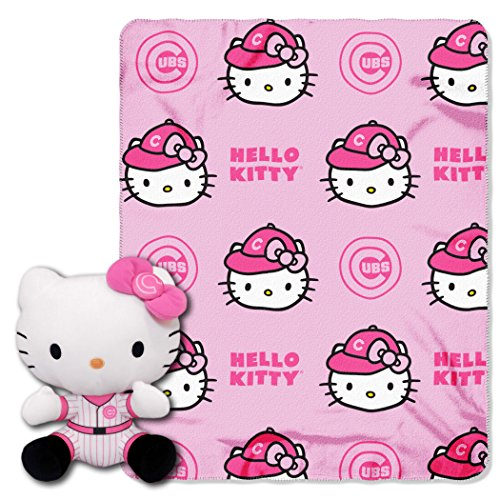 MLB Chicago Cubs Hello Kitty Fleece Throw with Hugger, 40 x 50-inches