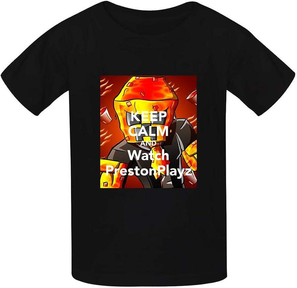 NJLLOS Kid//Youth PrestonPlayz Gamer Flame T-Shirts 3D Casual Short Sleeve O-Neck Tees