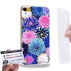 Case88 [Apple iPod Touch 5] Gel TPU Carcasa/Funda & Tarjeta de garantía - Art Design Blue Dahlias Vines And Flowers 1395