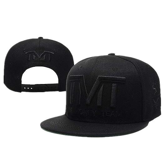 Women TMT Snapback Cap Canvas Snapback Cap Hip-Hop Flat Hat (Black Letter) a13b4b879c2
