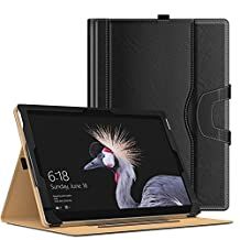 MoKo New Surface Pro 2017 Case - Slim Folding Stand Folio Cover Case for New Surface Pro 2017 / Surface Pro 4 / Pro 3 Tablet with Document Card Slots, Compatible with Type Cover Keyboard, BLACK