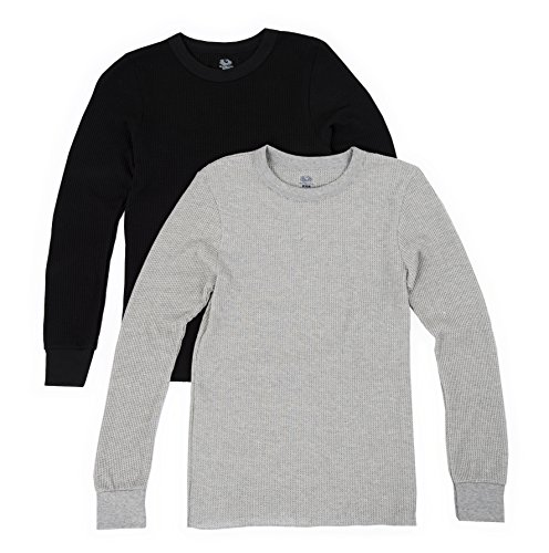 Fruit of the Loom Men's Classics Midweight Waffle Thermal Underwear Crew Top (2 Packs), Light Grey Heather/Black Soot, Large ()