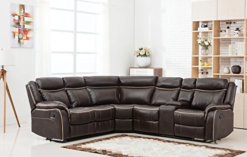 (Divano Roma Furniture Large Classic and Traditional Two Tone Bonded Leather Reclining Corner Sectional Sofa (Brown))