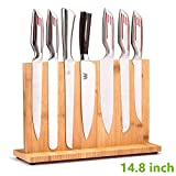 Magnetic Knife Block(Natural Bamboo),Knife Holder,Knife Organizer Block,Knife Dock,Cutlery Display Stand and Storage Rack,Large Capacity,Double Side Strongly Magnetic (14.8 inch)