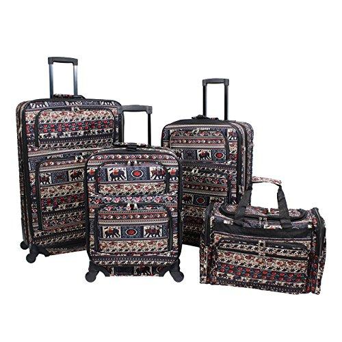 World Traveler Print 4-Piece Rolling Expandable Spinner Luggage Set, Elephant by World Traveler