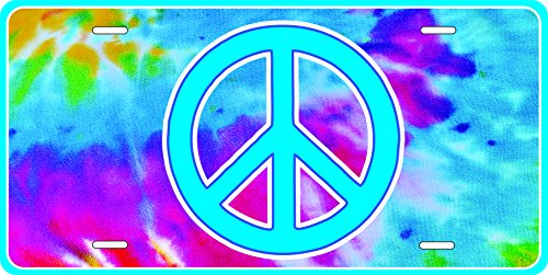 Peace Sign Licence Plate Front Custom Novelty Tag Vanity Tye Dye Tie, Hippie, Hippy, -
