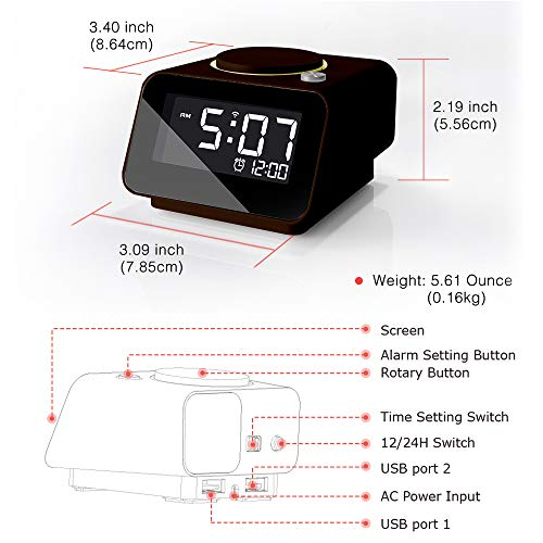 Homtime iC1mini Wi-Fi Alarm Clock for Kids and Seniors, Alexa-Enabled Alarm Clocks with Customized Brightness, Smart App Control, Dual USB Charging, Multi-Alarms, Chocolate