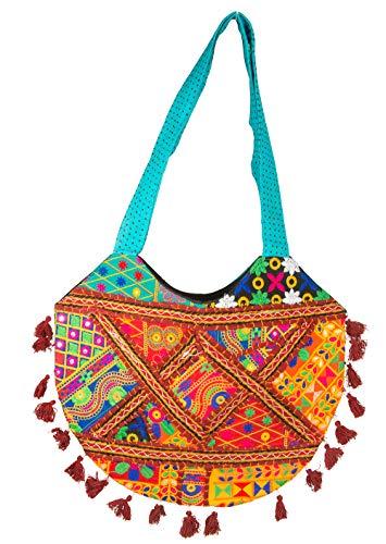 Tribe Azure Colorful Handmade Women Tote Shoulder Bag Purse Tassel Casual Boho Beach Fashion Everyday