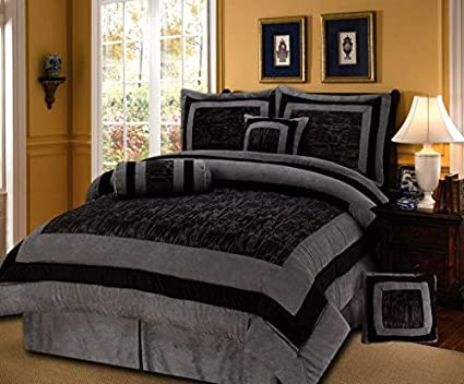 5c085ddbfbf Amazon.com  7 Pieces Black Grey Short Fur with Suede Comforter Set ...