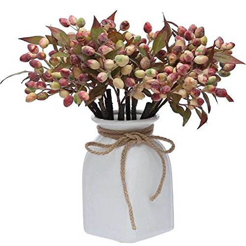 Htmeing 6pcs Artificial Berry Sprays for Holiday Decorating and Christmas Flower Arrangements (white pink) (Flowers Christmas Artificial)