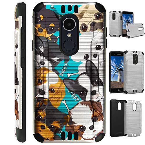 for LG Aristo 2 X210 | Tribute Dynasty | K8 (2018) | Fortune 2 | Zone 4 | Risio 3 Case Brushed Metal Texture Hybrid TPU Silver Guard Phone Cover (Cute Teacup Dogs)