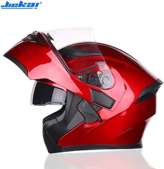 JIEKAI Casco Moto Hombre Rojo Helmet Moto Modular Casco Moto Mujer ...