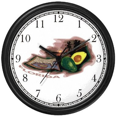 - Florida Icons - Advocado, Sandy Beach, Palm Trees, Map - American Theme Wall Clock by WatchBuddy Timepieces (White Frame)