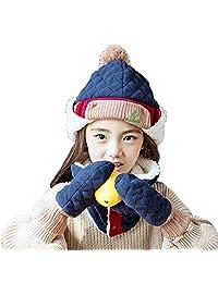 Triwonder Little Boys Girls Toddlers Winter Warm Fleece Flap Hat Scarf Mittens Set (M(1-5 years old), Navy Blue)