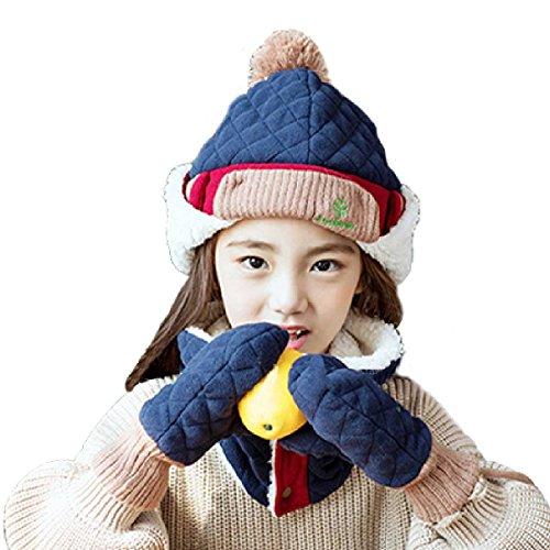 Old Navy Fleece Mittens Hat (Triwonder Little Boys Girls Toddlers Winter Warm Fleece Flap Hat Scarf Mittens Set (Navy Blue, M( 1-5 years old )))