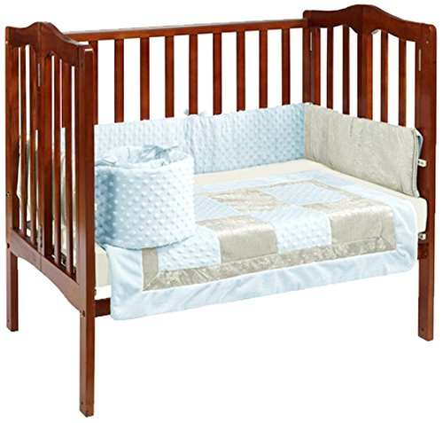 Baby Doll Bedding Croco Minky Mini Crib/ Port-a-Crib Bedding, Blue/Ivory ()