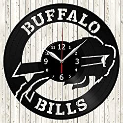 Buffalo Bills Vinyl Record Wall Clock Decor Handmade Unique Design Original Gift