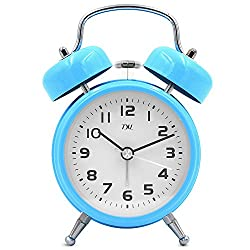 TXL 3.5 Metal Twin Bell Alarm Clock Silent Non Ticking Sweep Bedside Retro Analog Quartz Movement with Aluminum Dial, Backlight, Battery Operated Extra Loud Alarm for Heavy Sleepers/Office, Blue