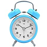 TXL 3.5'' Metal Twin Bell Alarm Clock with Aluminum Dial, Backlight, Battery Operated Loud Alarm for Heavy Sleepers/Office, Silent Non Ticking Sweep Bedside Retro Analog Quartz Night Table Clock-Blue