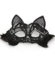Glumes Cat Lace Eye Mask, Masquerade Mask Women's Sexy Black Halloween Mask Glitter Fancy Gorgeous Masquerade Masks Party Costumes Accessory (❤ Black)