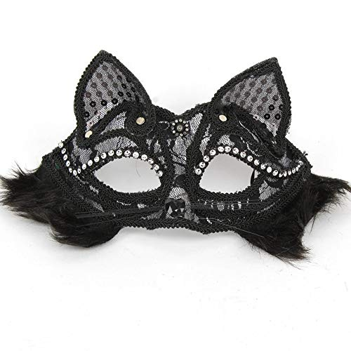 Glumes Cat Lace Eye Mask, Masquerade Mask Women's Sexy Black Halloween Mask Glitter Fancy Gorgeous Masquerade Masks Party Costumes Accessory (❤ Black)]()
