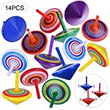 OZUAR 14 Pack Wooden Spinning Top Colorful Creative Non-toxic Wood Toy Smooth Surface Reduce Stress for Kid Kindergarten Present Prize 4 * 4 * 4.5 cm