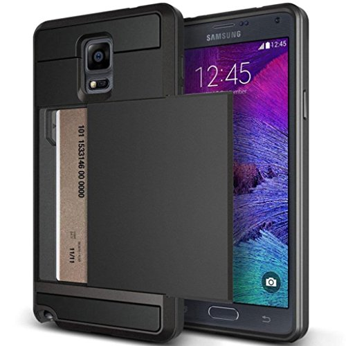 Note 3 Case, Anuck Protective Shell Galaxy Note 3 Wallet Case Card Pocket Shockproof Dual Layer Hybrid Rubber Bumper Case Cover with Card Slot Holder for Samsung Galaxy Note 3 - Black