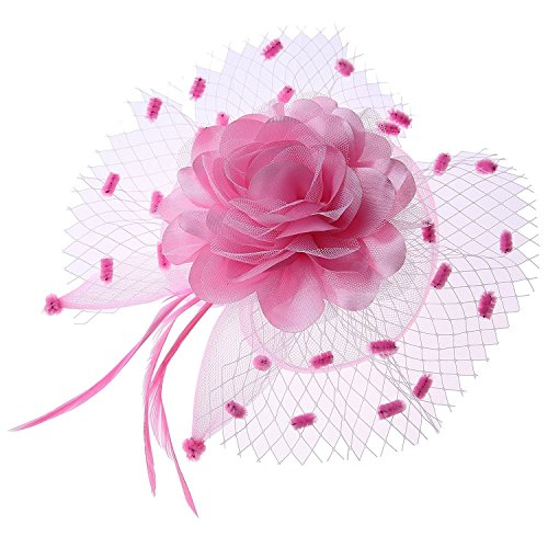 Coolwife Womens Fascinator Veil Flower Cocktail Tea Party Headwear (Pretty In Pink Movie Dress Costume)