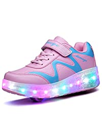 Ufatansy Uforme Colorful LED Lights Children Light Skate Shoes Fashion Sneakers for Girls Boys