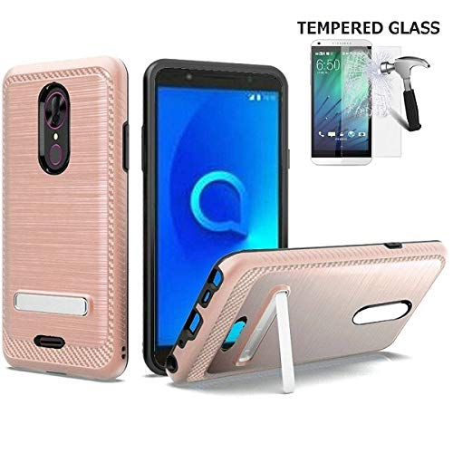 Phone Case for Alcatel Onyx, Dual Layer Metallic Brushed Design Shockproof Protection Cover Case with Kickstand (Rose Gold -Tempered ()