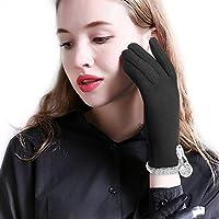 Women Winter Gloves Touchscreen Warm Fleece Lined Texting Gloves, Black/Red