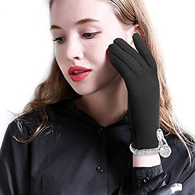 Women Touch Screen Gloves Fleece Lined Winter Warm Thick Fashion Black Texting
