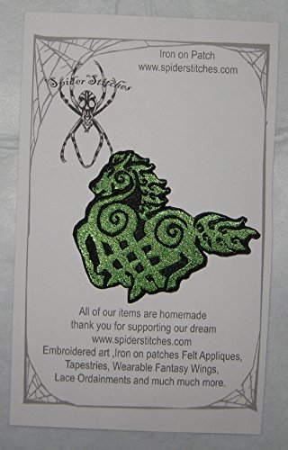 Green Norse Odin Horse Sleipnir 8 Legged Horse Celtic Knot Iron on Patch