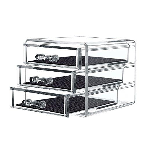 TWING Acrylic 3 Jewelry Box Organizer Display Storage case, Crystal and Unbroken Jewelry calener Drawer