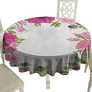 "longbuyer Anemone Flower Dinner Picnic Table Cloth Pink Rose and Anemone Flowers Frame Lively Bridal Wedding Design Diameter 54"",Suitable for Kitchen, dustproof Desktop Decoration 51"