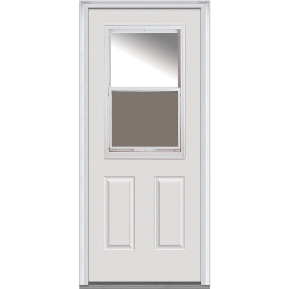 National Door Company Z000316L Fiberglass Smooth Primed, Left Hand In-swing, Prehung Front Door, 1/2 Lite Venting 2-Panel, Clear Glass, 32'' x 80''