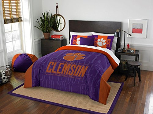 Clemson Tigers - 3 Piece FULL / QUEEN SIZE Printed Comforter & Shams - Entire Set Includes: 1 Full / Queen Comforter (86